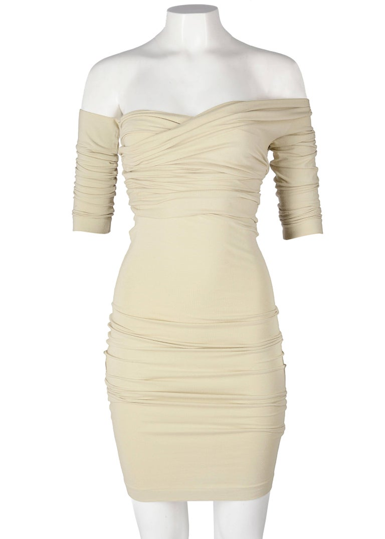 Beige Dolce & Gabbana ivory cotton jersey bodycon dress and crop top set, ss 1991 For Sale