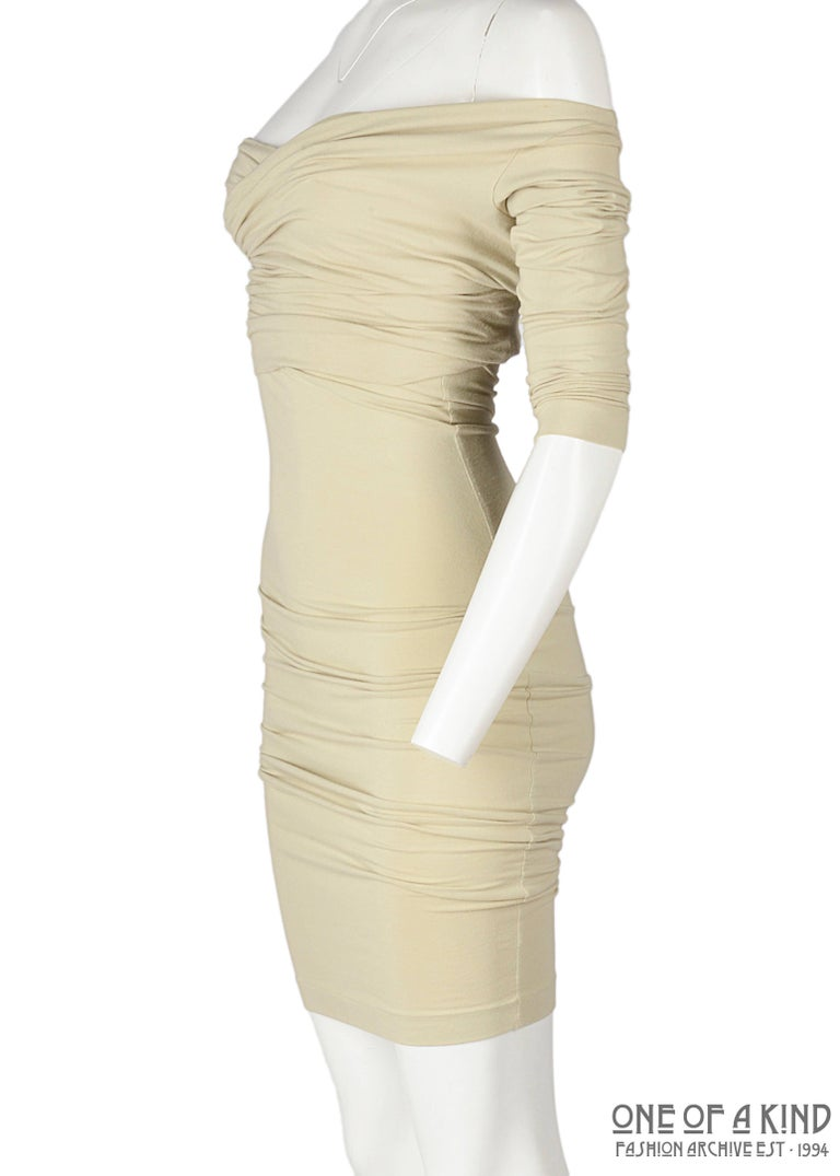 Dolce & Gabbana ivory cotton jersey bodycon dress and crop top set, ss 1991 In Good Condition For Sale In London, GB