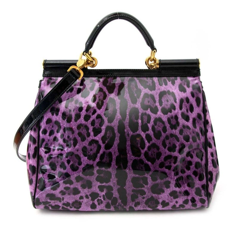 f68cb56f944b Dolce and Gabbana Purple Patent Miss Sicily Leopard Print Bag at 1stdibs