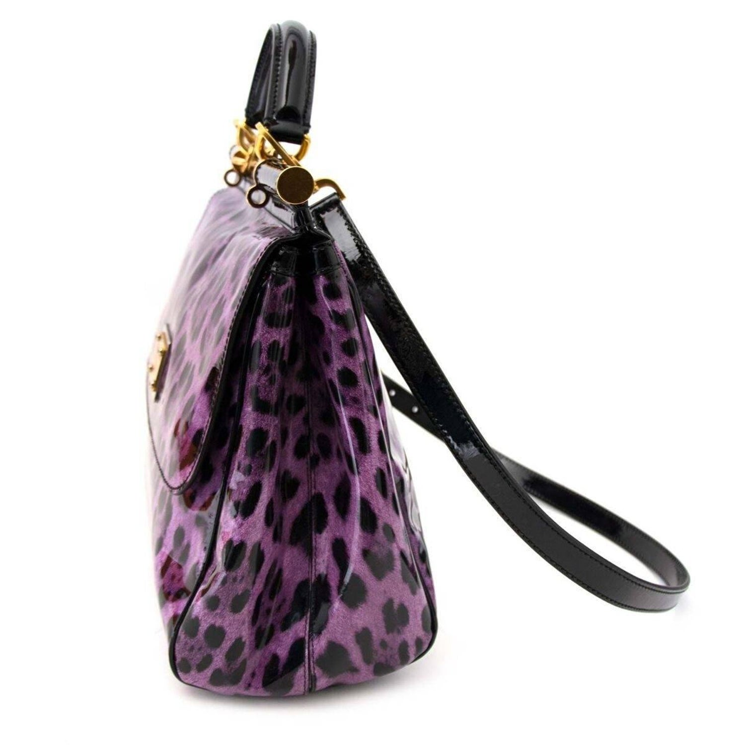 040ae6a74ef34 Dolce and Gabbana Purple Patent Miss Sicily Leopard Print Bag at 1stdibs