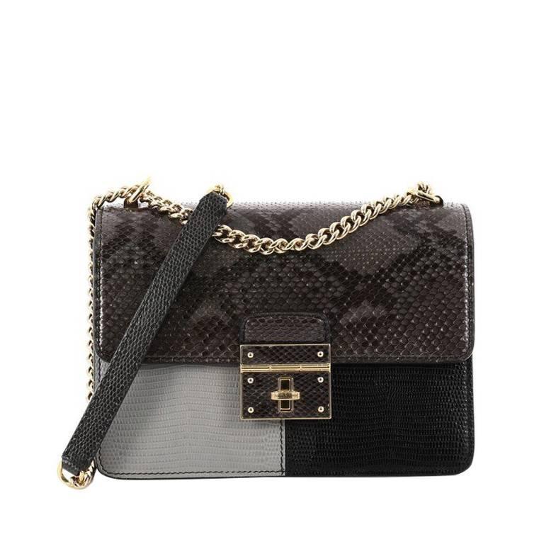4cbf9084d3 Dolce and Gabbana Rosalia Shoulder Bag Python and Lizard Embossed Leather  at 1stdibs