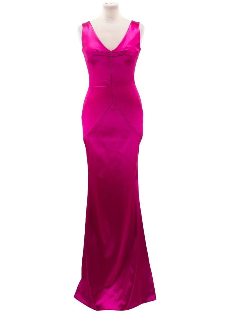 Dolce and Gabbana Bright Pink Satin Gown For Sale at 1stdibs