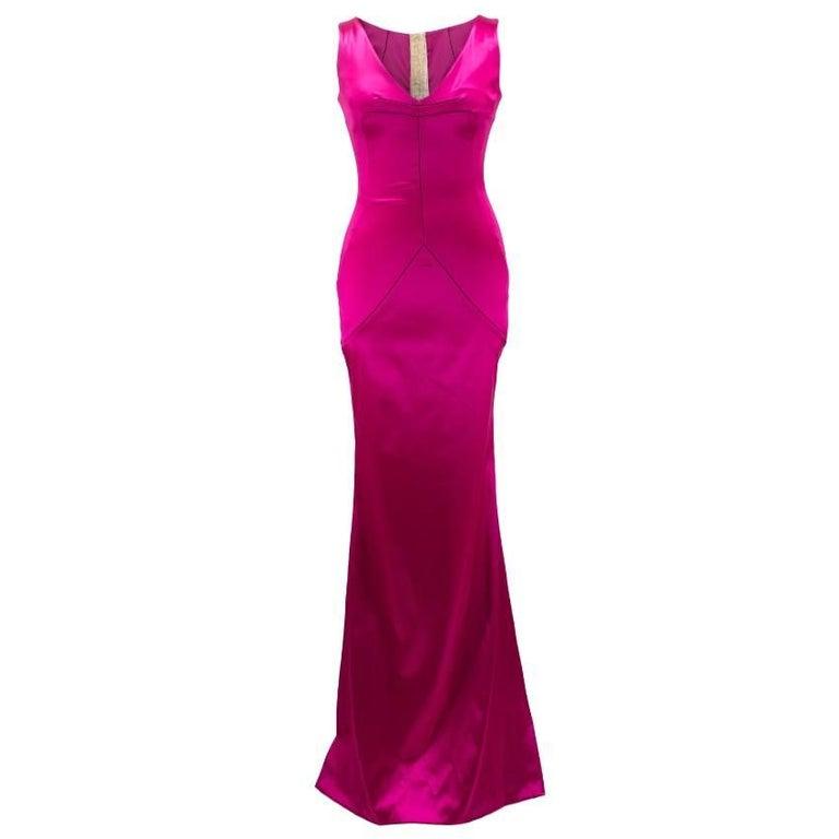 Dolce & Gabbana Bright Pink Satin Gown