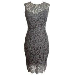 Dolce & Gabbana Sheath Dress Silk Lace Vintage Gray