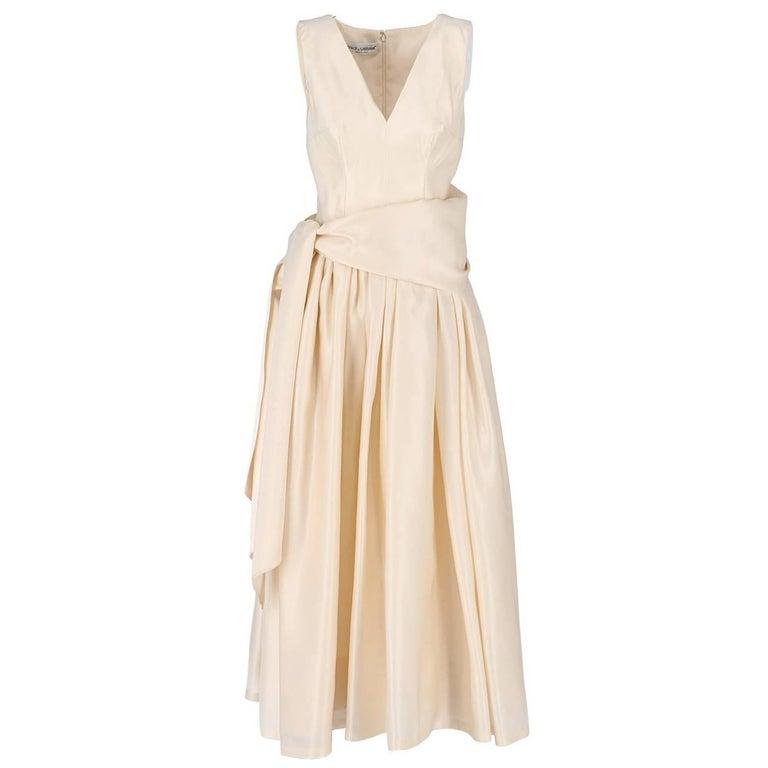 Dolce & Gabbana Silk Vintage Ivory White Wedding Dress, 2000s