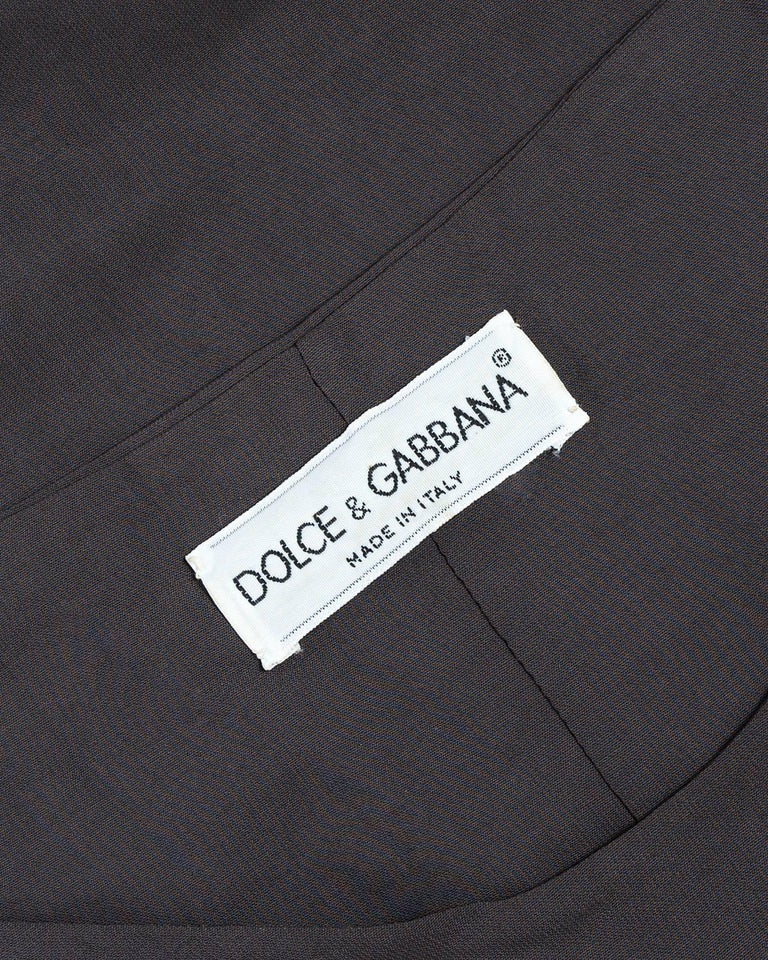 Gray Dolce & Gabbana taupe bodycon off the shoulder maxi dress, ca. 1991-1995 For Sale