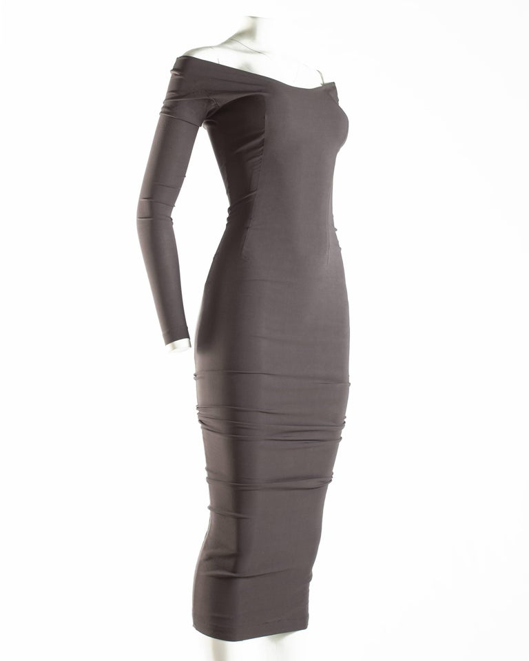 Women's or Men's Dolce & Gabbana taupe bodycon off the shoulder maxi dress, ca. 1991-1995 For Sale