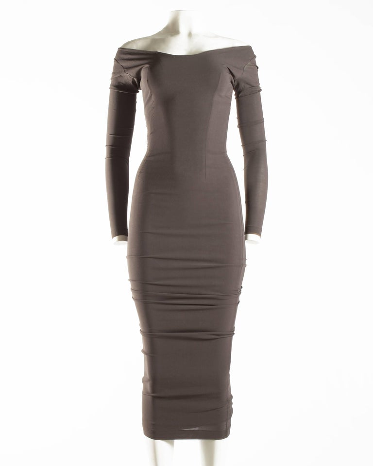 Dolce & Gabbana taupe bodycon off the shoulder maxi dress, ca. 1991-1995 For Sale 1
