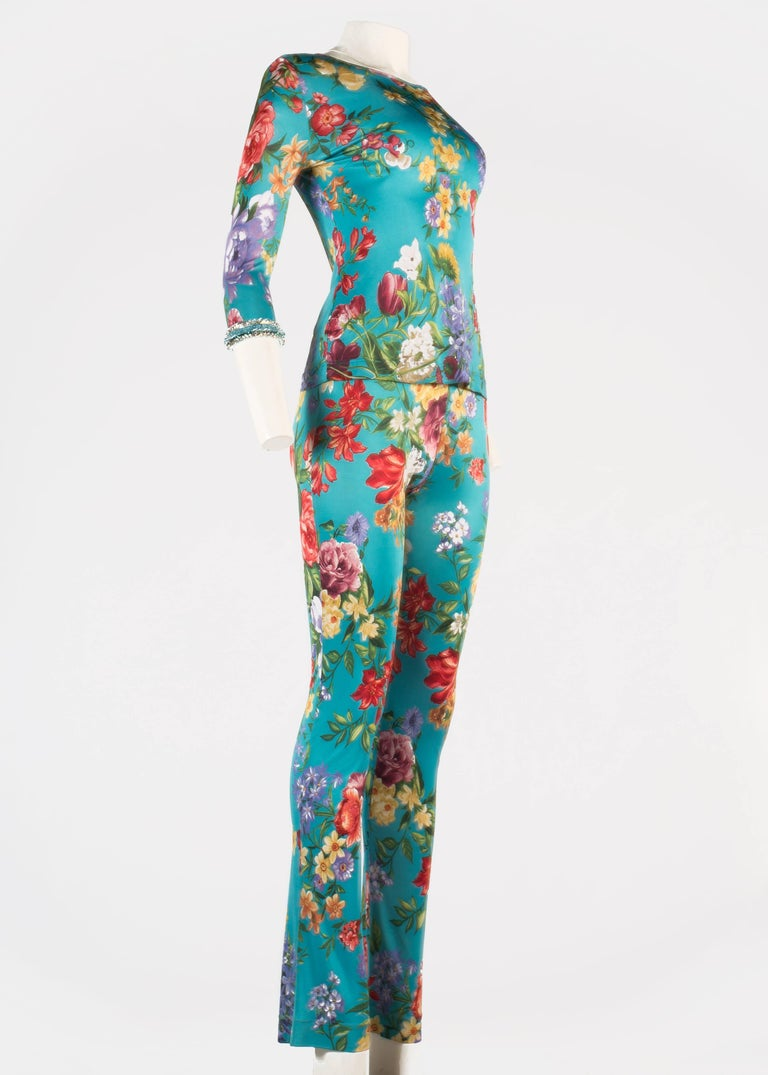 Dolce & Gabbana viscose jersey turquoise floral pant suit with embellished cuffs  c. 1996-1999