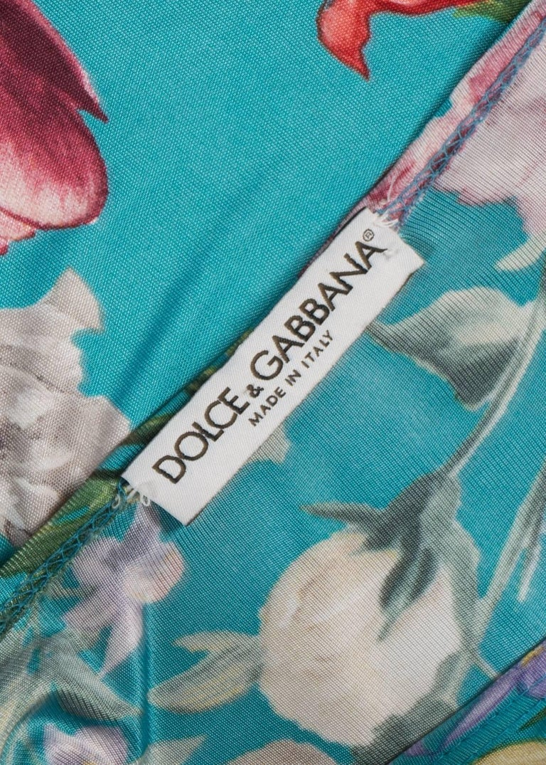 Women's Dolce & Gabbana viscose jersey turquoise floral pant suit, circa 1999 For Sale