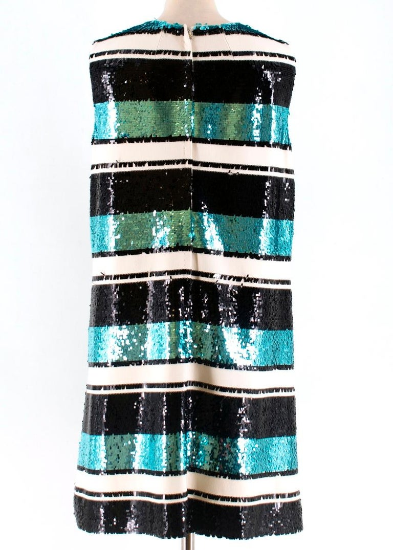 Women's  Dolce and Gabanna Striped Sequinned Dress M 44 For Sale