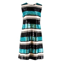 Dolce and Gabanna Striped Sequinned Dress M 44