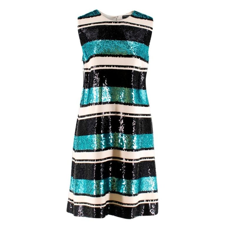 Dolce and Gabanna Striped Sequinned Dress M 44 For Sale