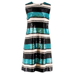 Dolce and Gabanna Striped Sequinned Dress - Size US 8