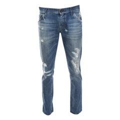 Dolce and Gabbana 14 Gold Indigo Light Wash Denim Distressed Straight Jeans M
