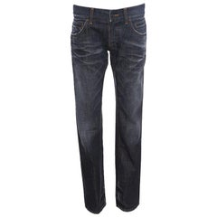 Dolce and Gabbana 14 Green Grey Faded Effect Distressed Denim Jeans M