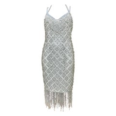 Dolce and Gabbana 2004 White Beaded Rhinestones Flapper Dress