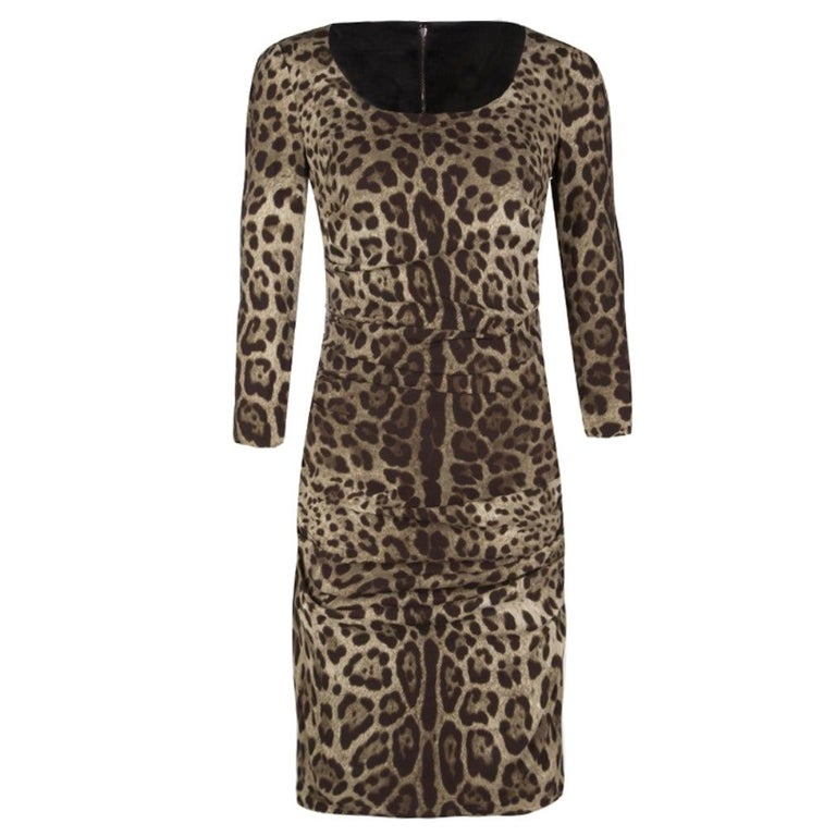 Dolce and Gabbana Animal Print Ruched Silk Long Sleeve Dress M For Sale