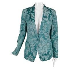 Dolce and Gabbana Aqua Satin Jacquard Jacket