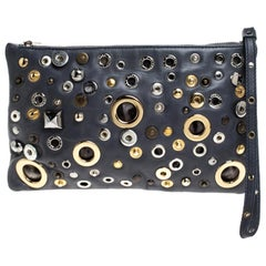 Dolce and Gabbana Ash Blue Leather Eyelet Studded Clutch