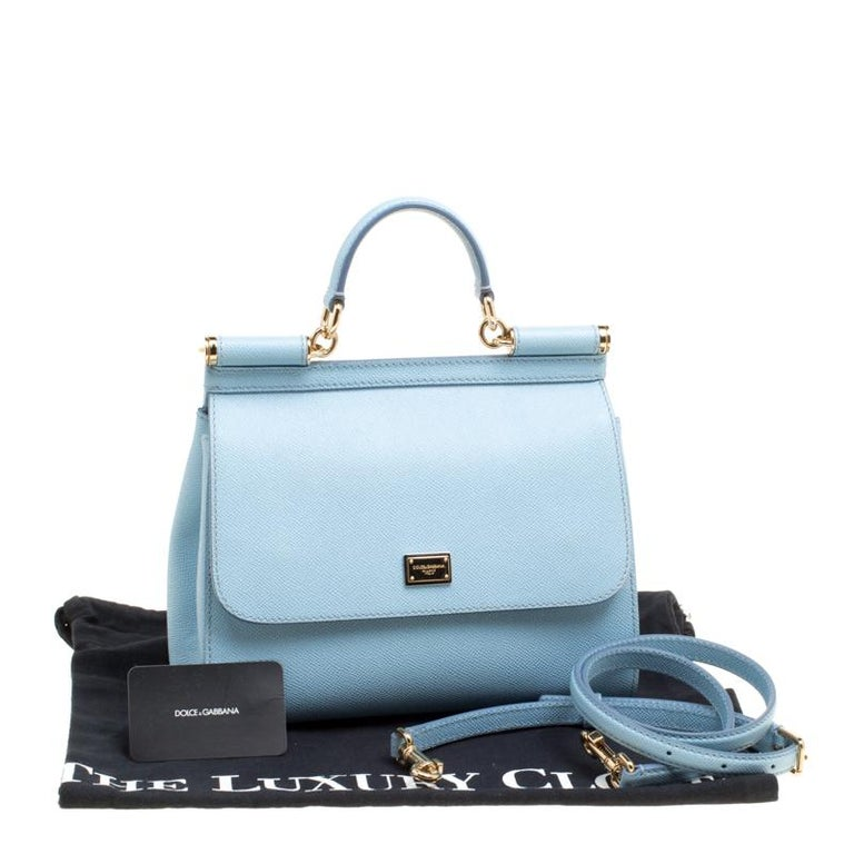 Dolce and Gabbana Baby Blue Leather Medium Miss Sicily Top Handle Bag For Sale 7