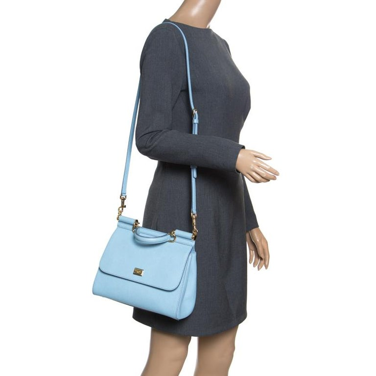Dolce and Gabbana Baby Blue Leather Medium Miss Sicily Top Handle Bag In Good Condition For Sale In Dubai, Al Qouz 2