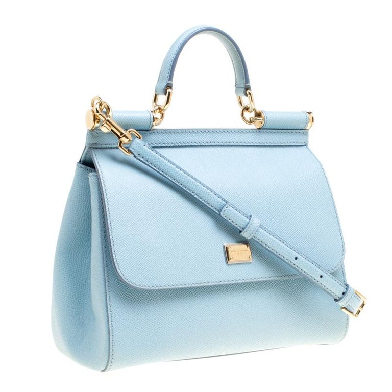 3ce879bc71 Dolce and Gabbana Baby Blue Leather Medium Miss Sicily Top Handle Bag For  Sale 1