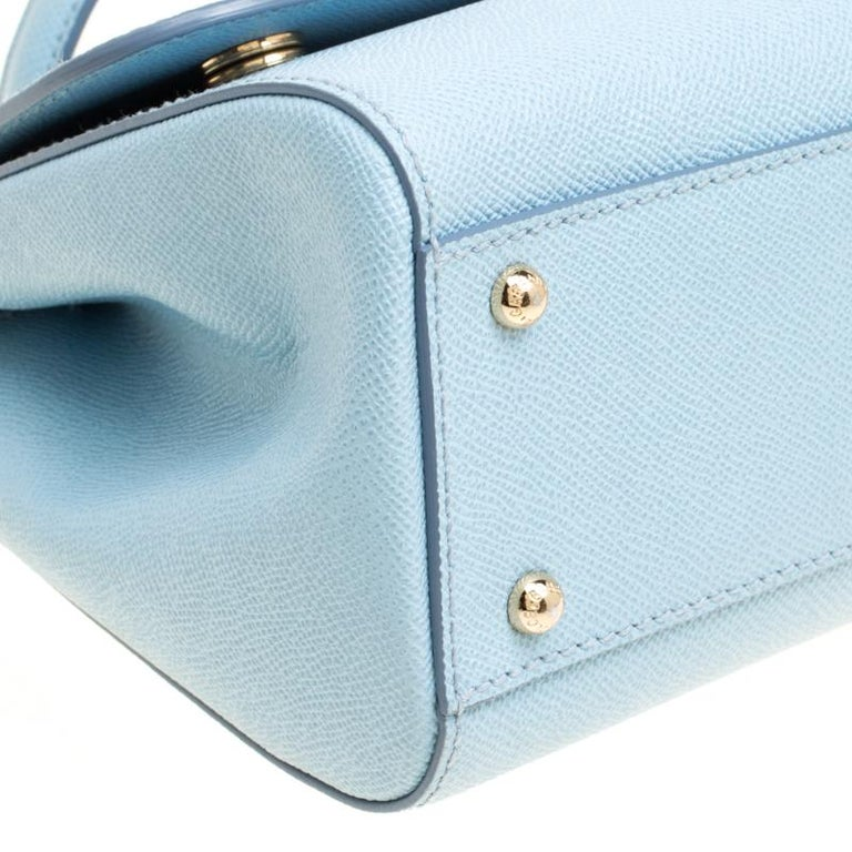 Dolce and Gabbana Baby Blue Leather Medium Miss Sicily Top Handle Bag For Sale 1