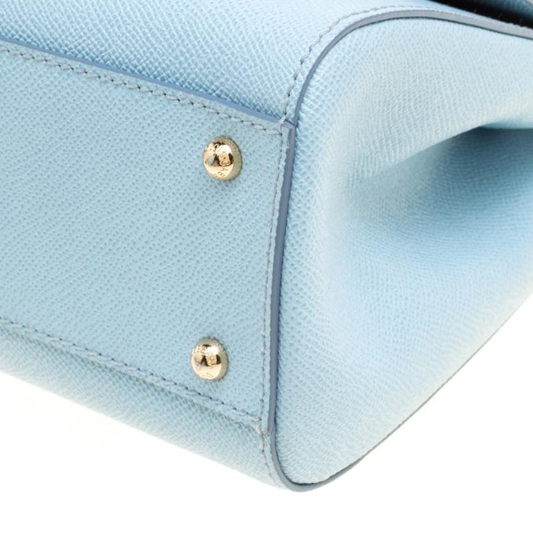 Dolce and Gabbana Baby Blue Leather Medium Miss Sicily Top Handle Bag For Sale 2