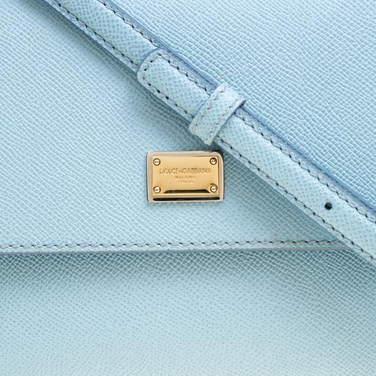 Dolce and Gabbana Baby Blue Leather Medium Miss Sicily Top Handle Bag For Sale 3