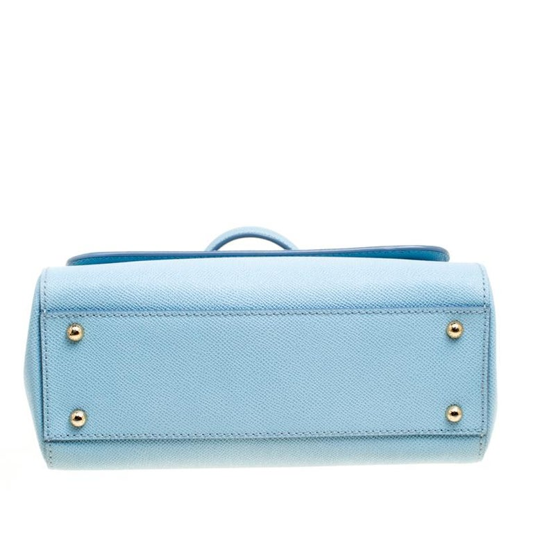 Dolce and Gabbana Baby Blue Leather Medium Miss Sicily Top Handle Bag For Sale 4