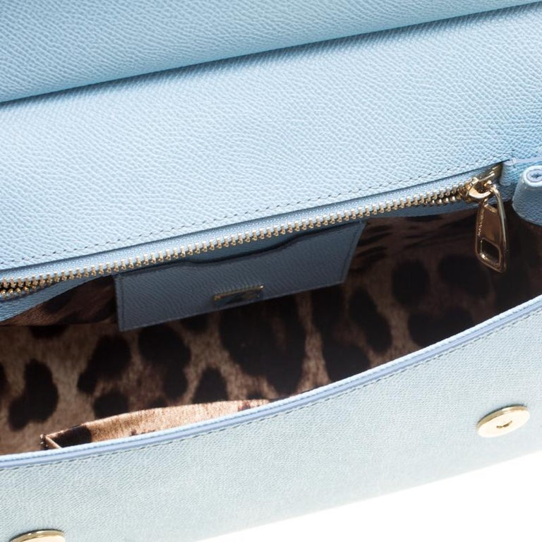 Dolce and Gabbana Baby Blue Leather Medium Miss Sicily Top Handle Bag For Sale 5