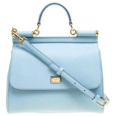 Dolce and Gabbana Baby Blue Leather Medium Miss Sicily Top Handle Bag