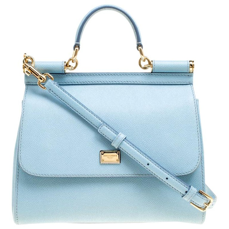 Dolce and Gabbana Baby Blue Leather Medium Miss Sicily Top Handle Bag For Sale