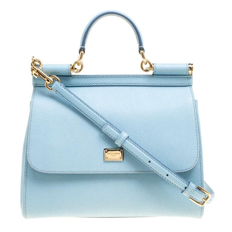 81ab711a482 Dolce and Gabbana Baby Blue Leather Medium Miss Sicily Top Handle Bag For  Sale