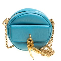 Dolce and Gabbana Baby Blue Leather Small Charm Miss Glam Crossbody Bag