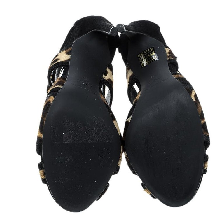 Dolce and Gabbana Beige/Black Leopard Print Calfhair and Suede Sandals Size 37 For Sale 2