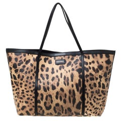 Dolce and Gabbana Beige/Black Leopard Print PVC and Leather Miss Escape Tote