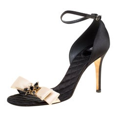 Dolce And Gabbana Beige/ Black Satin Ankle Strap Open Toe Sandals Size 40