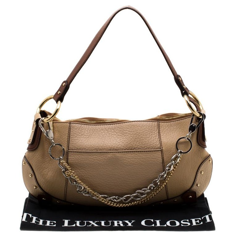 Dolce and Gabbana Beige/Brown Leather Chain Shoulder Bag For Sale 7