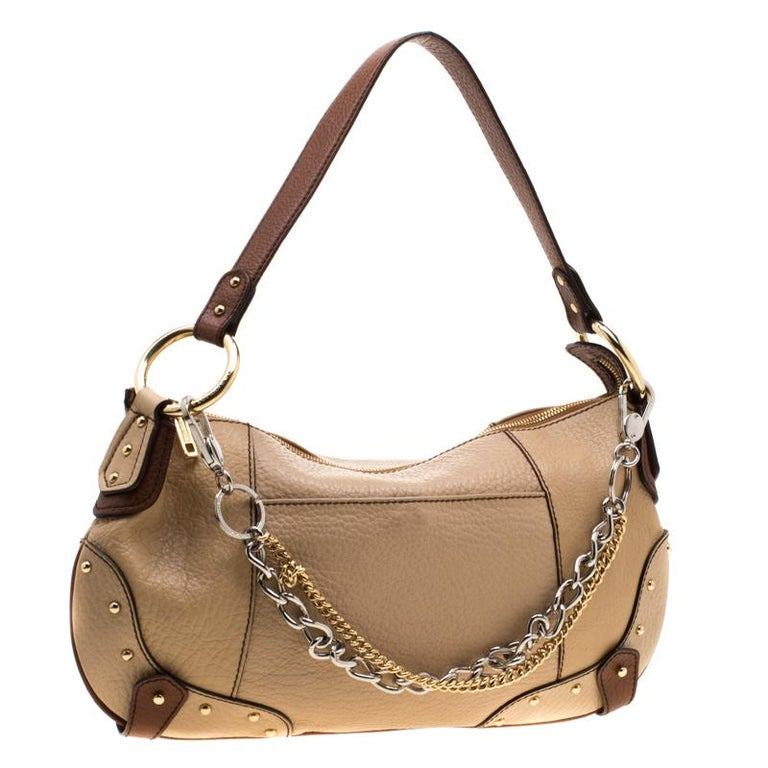 Dolce and Gabbana Beige/Brown Leather Chain Shoulder Bag For Sale 2