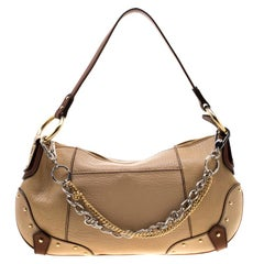 Dolce and Gabbana Beige/Brown Leather Chain Shoulder Bag