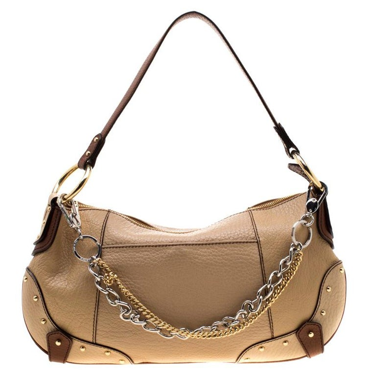 Dolce and Gabbana Beige/Brown Leather Chain Shoulder Bag For Sale