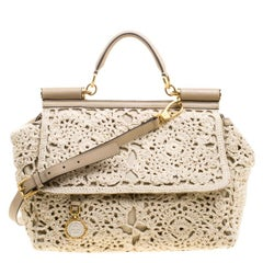 Dolce and Gabbana Beige Crochet Fabric Large Miss Sicily Tote