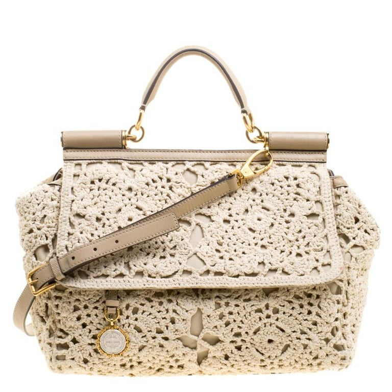 c8b04164c6de Dolce and Gabbana Beige Crochet Fabric Large Miss Sicily Tote at 1stdibs