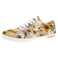 Dolce and Gabbana Beige Floral Printed Canvas Low Top Sneakers Size 37.5