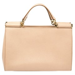 Dolce and Gabbana Beige Grained Leather Sicily East West Tote