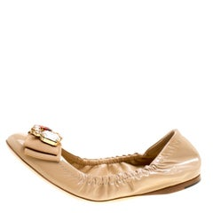 Dolce and Gabbana Beige Leather Embellished Bow Scrunch Ballet Flats Size 39