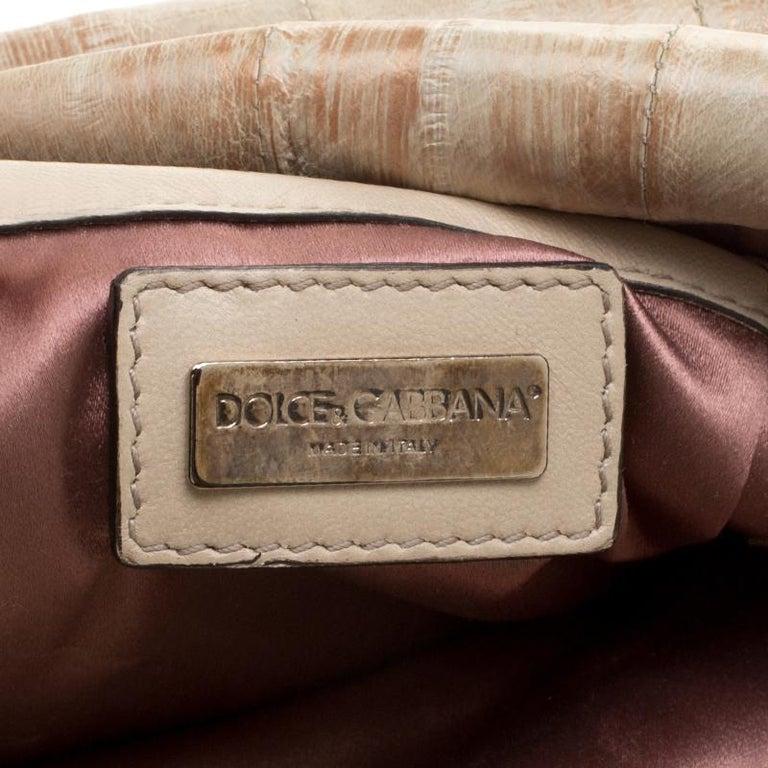Dolce and Gabbana Beige Leather Miss Deco Shoulder Bag For Sale 6