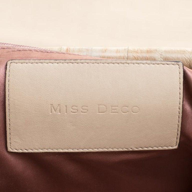 Dolce and Gabbana Beige Leather Miss Deco Shoulder Bag For Sale 7
